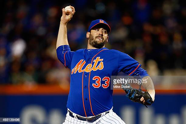 Matt Harvey of the New York Mets throws a pitch against the Chicago Cubs during game one of the 2015 MLB National League Championship Series at Citi...