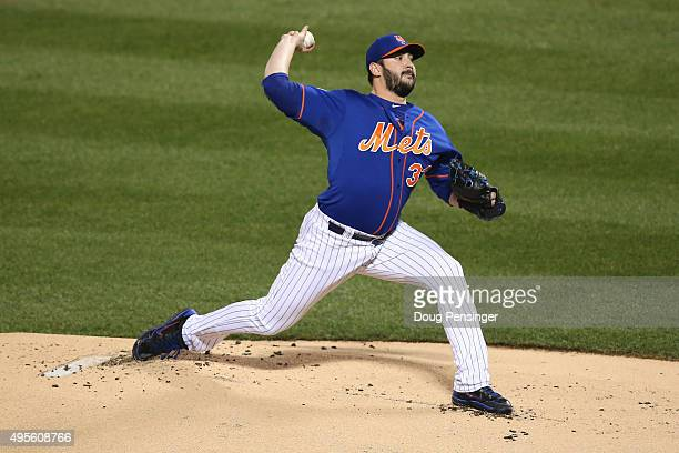 Matt Harvey of the New York Mets throws a pitch against the Kansas City Royals during Game Five of the 2015 World Series at Citi Field on November 1...