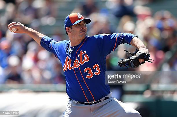 Matt Harvey of the New York Mets throws a pitch during a spring training game against the Atlanta Braves at Champion Stadium on March 8 2016 in Lake...