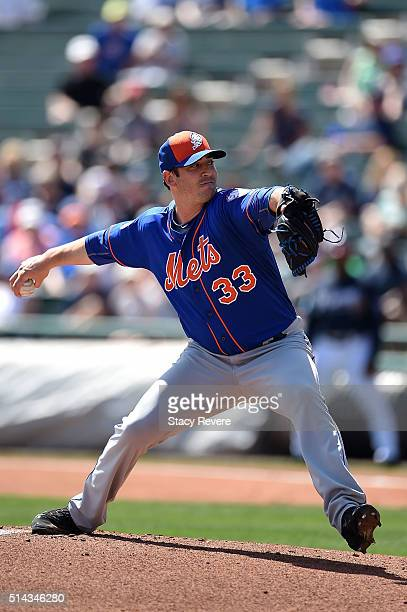 Matt Harvey of the New York Mets throws a pitch during the first inning of a spring training game against the Atlanta Braves at Champion Stadium on...