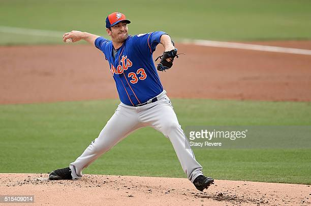 Matt Harvey of the New York Mets throws a pitch during the first inning of a spring training game against the Miami Marlins at Roger Dean Stadium on...