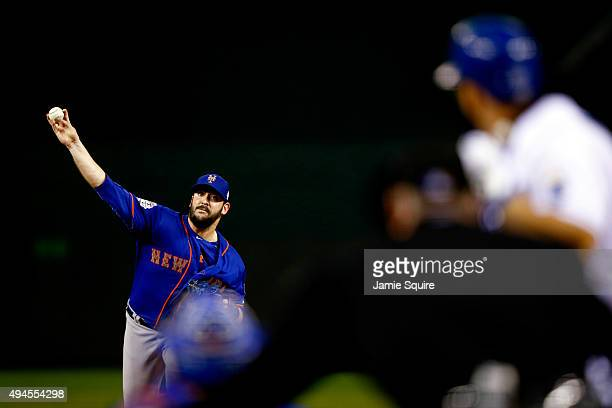 Matt Harvey of the New York Mets throws a pitch in the first inning against the Kansas City Royals during Game One of the 2015 World Series at...