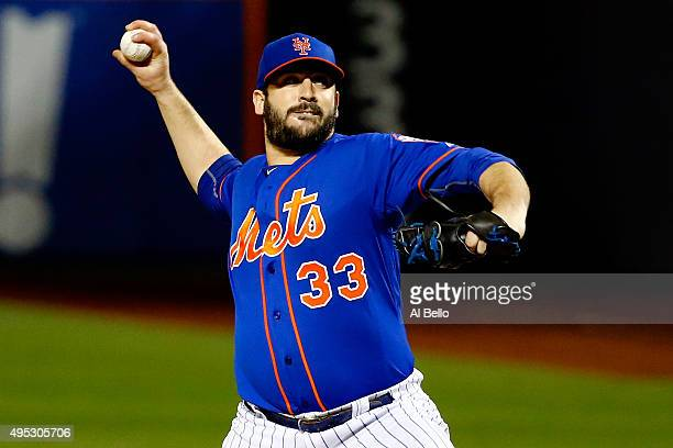 Matt Harvey of the New York Mets throws a pitch in the ninth inning against the Kansas City Royals during Game Five of the 2015 World Series at Citi...