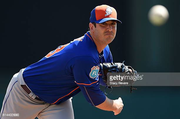 Matt Harvey of the New York Mets throws a pitch prior to a spring training game against the Atlanta Braves at Champion Stadium on March 8 2016 in...