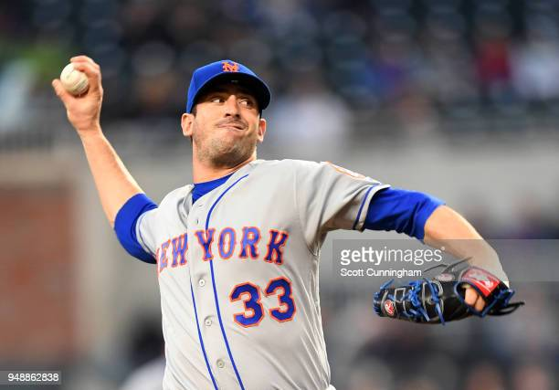 Matt Harvey of the New York Mets throws a secondinning pitch against the Atlanta Braves at SunTrust Park on April 19 2018 in Atlanta Georgia