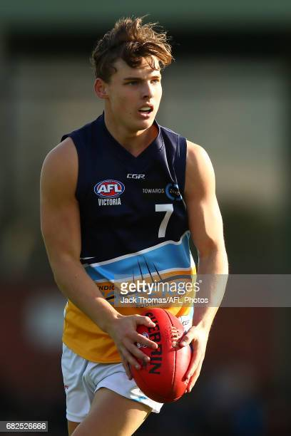 Matt Harvey of the Pioneers runs with the ball during the round seven TAC Cup match between the Eastern Ranges and the Bendigo Pioneers at Box Hill...