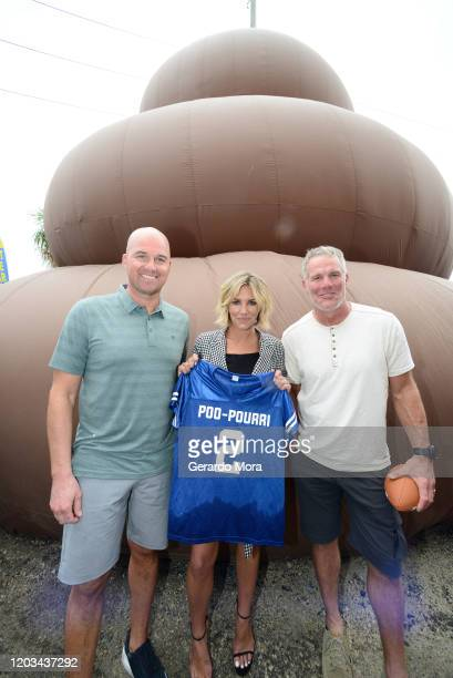 Matt Hasselbeck, Charissa Thompson and Brett Favre let it go during Poo-Pourri's Giant Poo In Miami at The Wynwood Marketplace on February 01, 2020...