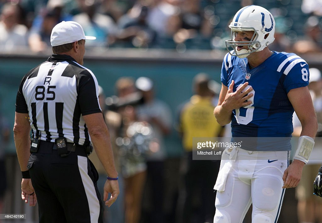 Matt Hasselbeck #8 of the Indianapolis Colts argues a penalty with referee Ed Hochuli #85 in the preseason game against the Philadelphia Eagles on August 16, 2015 at Lincoln Financial Field in Philadelphia, Pennsylvania. The Eagles defeated the Colts 36-10.