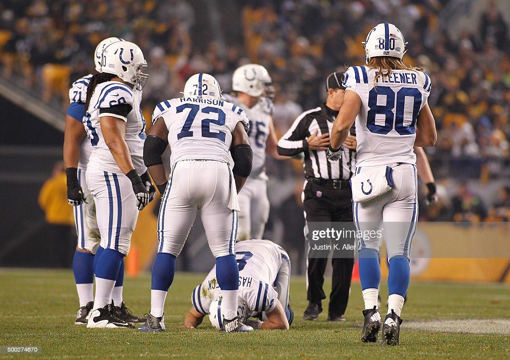 Matt Hasselbeck #8 of the Indianapolis Colts takes a moment on the field after being injured in the second half of the game against the Pittsburgh Steelers at Heinz Field on December 6, 2015 in Pittsburgh, Pennsylvania.