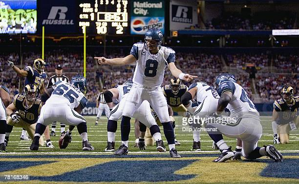 Matt Hasselbeck of the Seattle Seahawks calls the play near the endzone during the game against the St Louis Rams at the Edward Jones Dome on...