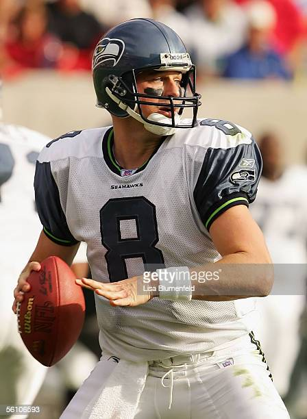 Matt Hasselbeck of the Seattle Seahawks looks to pass during the game against the Arizona Cardinals on November 6 2005 at Sun Devil Stadium in...