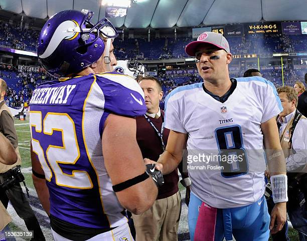 Matt Hasselbeck of the Tennessee Titans speaks with Chad Greenway of the Minnesota Vikings after the game on October 7 2012 at Mall of America Field...