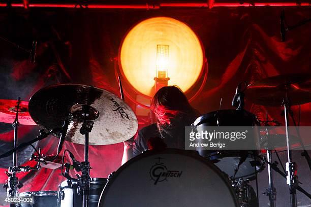 Matt Hayward of Band Of Skulls performs on stage at Leeds Metropolitan University on March 23 2014 in Leeds United Kingdom