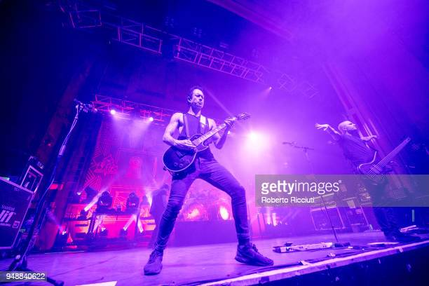 Matt Heafy and Paolo Gregoletto of Trivium perform on stage at O2 Academy on April 19 2018 in Glasgow Scotland