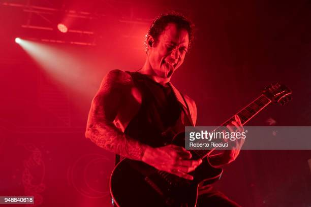 Matt Heafy of Trivium performs on stage at O2 Academy on April 19 2018 in Glasgow Scotland