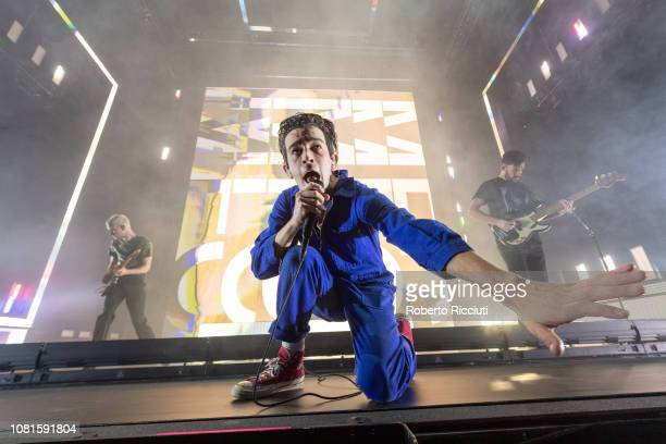 Matt Healy of The 1975 performs on stage at The SSE Hydro on January 12 2019 in Glasgow Scotland