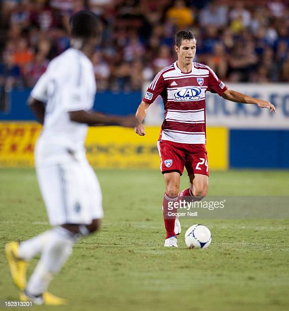 Matt Hedges of FC Dallas controls the ball against the Vancouver Whitecaps FC on September 15 2012 at FC Dallas Stadium in Frisco Texas