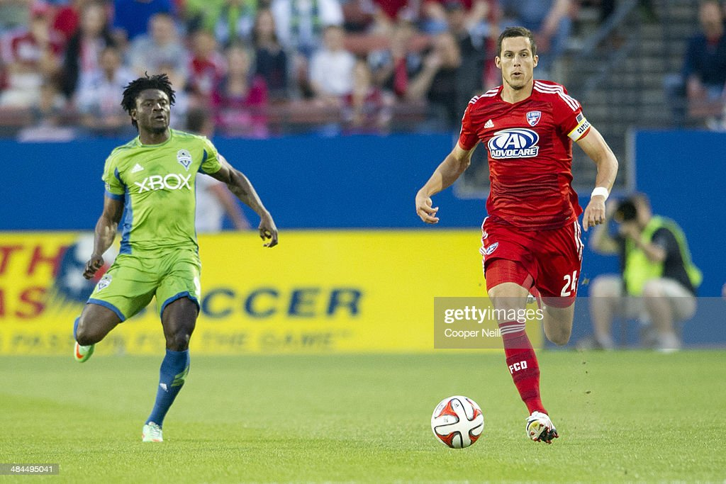 Matt Hedges #24 of the FC Dallas brings the ball up field against the Seattle Sounders FC on April 12, 2014 at Toyota Stadium in Frisco, Texas.
