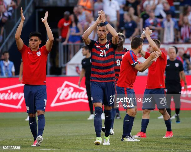 Matt Hedges the United States reacts with teammates to cheers after an international friendly between USA and Ghana at Pratt Whitney Stadium on July...