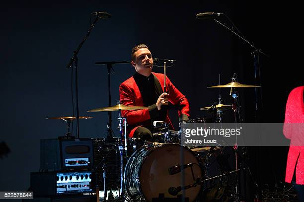 Matt Helders drummer of Arctic Monkeys performss with Iggy Pop during Post Pop Depression Tour at Fillmore Miami Beach on April 19 2016 in Miami...
