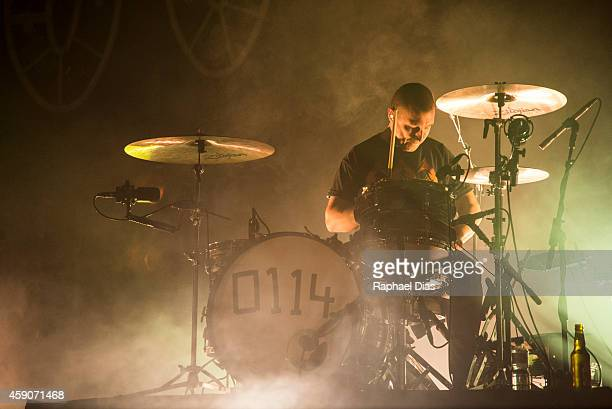 Matt Helders of Arctic Monkeys performs at HSBC Arena on November 15 2014 in Rio de Janeiro Brazil