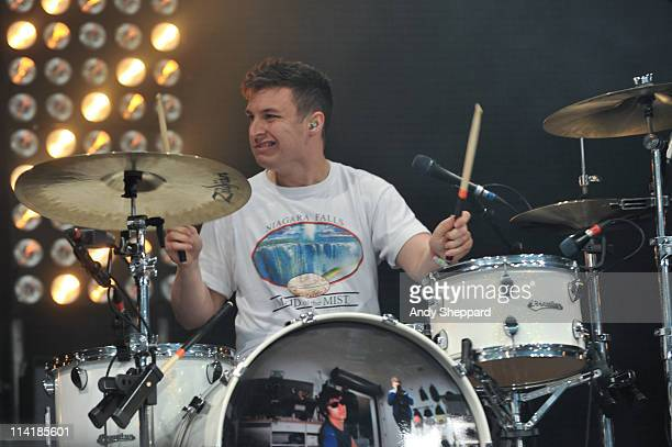 Matt Helders of The Arctic Monkeys performs on stage during the first day of BBC Radio 1's Big Weekend at Carlisle Airport on May 14 2011 in Carlisle...