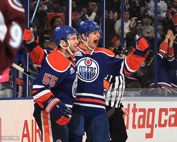 Matt Hendricks and Mark Letestu of the Edmonton Oilers celebrate after a goal during the game against the Colorado Avalanche on March 20 2016 at...
