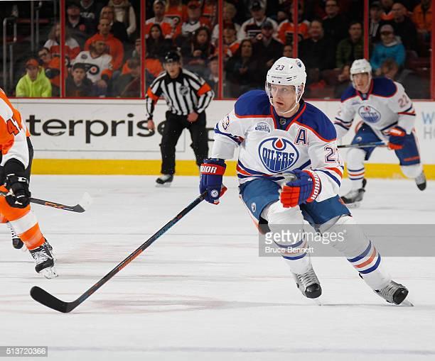 Matt Hendricks of the Edmonton Oilers skates against the Philadelphia Flyers at the Wells Fargo Center on March 3 2016 in Philadelphia Pennsylvania...