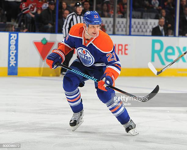 Matt Hendricks of the Edmonton Oilers skates during a game against the New Jersey Devils on November 20 2015 at Rexall Place in Edmonton Alberta...