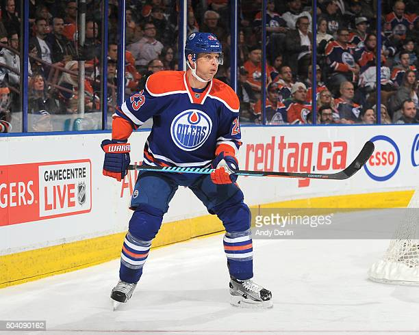 Matt Hendricks of the Edmonton Oilers skates during a game against the Tampa Bay Lightning on January 8 2016 at Rexall Place in Edmonton Alberta...