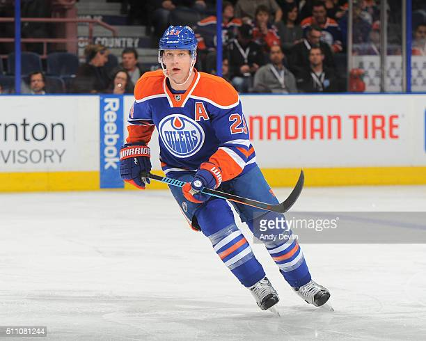 Matt Hendricks of the Edmonton Oilers skates during a game against the Columbus Blue Jackets on February 2 2016 at Rexall Place in Edmonton Alberta...