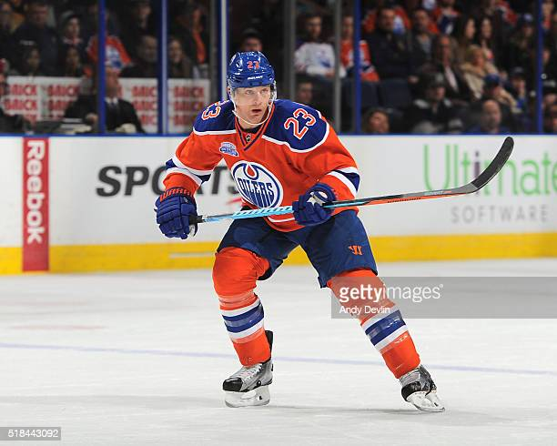 Matt Hendricks of the Edmonton Oilers skates during a game against the Vancouver Canucks on March 18 2016 at Rexall Place in Edmonton Alberta Canada