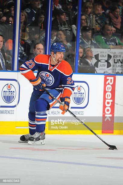 Matt Hendricks of the Edmonton Oilers skates on the ice in a game against the Vancouver Canucks on January 21 2014 at Rexall Place in Edmonton...