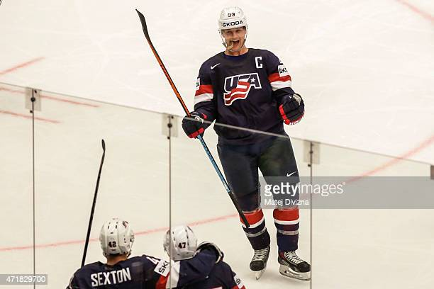 Matt Hendricks of the United States celebrates goal of his teammates during the IIHF World Championship group B match between USA and Finland at CEZ...