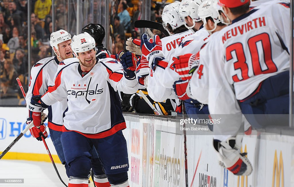 Matt Hendricks #26 of the Washington Capitals celebrates a goal against the Boston Bruins in Game Seven of the Eastern Conference Quarterfinals during the 2012 NHL Stanley Cup Playoffs at TD Garden on April 25, 2012 in Boston, Massachusetts.