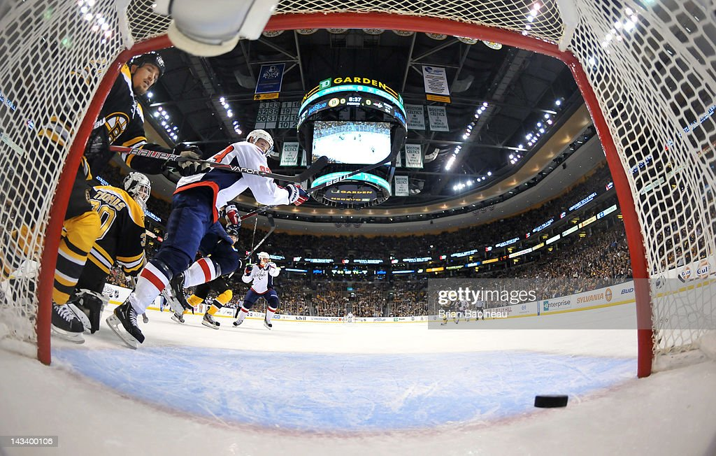 Matt Hendricks #26 of the Washington Capitals scores a goal against the Boston Bruins in Game Seven of the Eastern Conference Quarterfinals during the 2012 NHL Stanley Cup Playoffs at TD Garden on April 25, 2012 in Boston, Massachusetts.