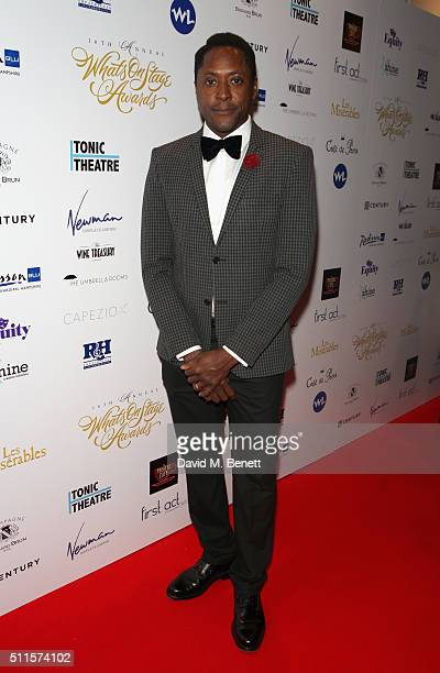 Matt Henry attends the 16th Annual WhatsOnStage Awards at The Prince of Wales Theatre on February 21 2016 in London England