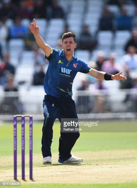 Matt Henry of Kent appeals during the Royal London OneDay Cup match between Nottinghamshire Outlaws and Kent Spitfires at Trent Bridge on June 14...