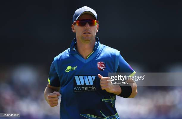 Matt Henry of Kent looks on during the Royal London OneDay Cup match between Nottinghamshire Outlaws and Kent Spitfires at Trent Bridge on June 14...