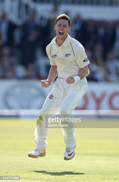 Matt Henry of New Zealand celebrates dismissing Joe Root of England during day one of 1st Investec Test match between England and New Zealand at...