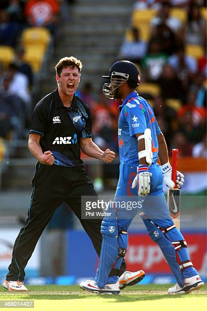 Matt Henry of New Zealand celebrates his wicket of Ajinkya Rahane of India during Game 5 of the men's one day international between New Zealand and...