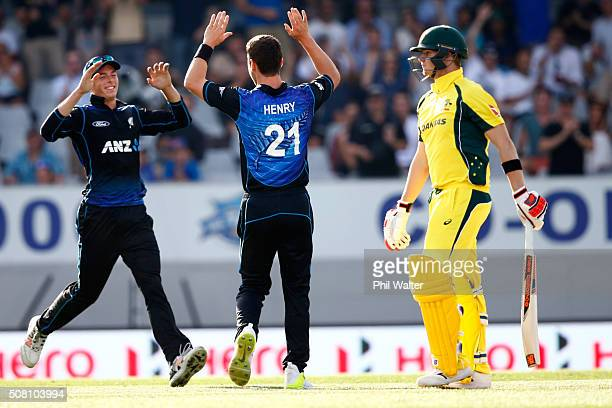 Matt Henry of New Zealand celebrates his wicket of Steven Smith of Australia during the One Day International match between New Zealand and Australia...