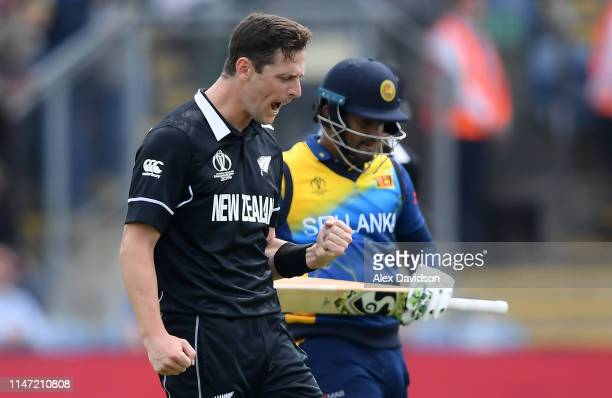 Matt Henry of New Zealand celebrates taking the wicket of Kusal Perera of Sri Lanka during the Group Stage match of the ICC Cricket World Cup 2019...