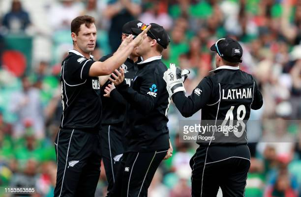 Matt Henry of New Zealand celebrates with team mates after bowling Soumya Sarkar during the Group Stage match of the ICC Cricket World Cup 2019...