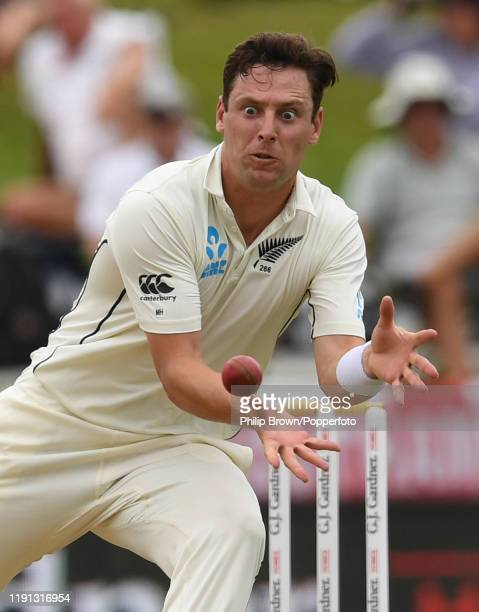 Matt Henry of New Zealand prepares to stop the ball during day 4 of the second Test match between New Zealand and England at Seddon Park on December...
