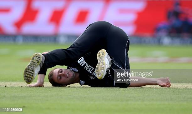 Matt Henry of New Zealand reacts to a chance during the Group Stage match of the ICC Cricket World Cup 2019 between Afghanistan and New Zealand at...