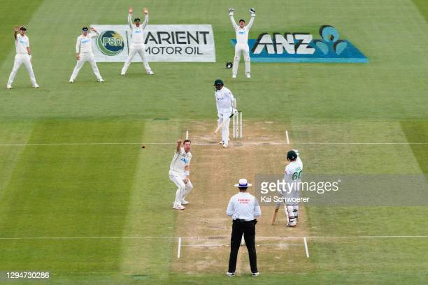 Matt Henry of New Zealand unsuccessfully appeals for the wicket of Azhar Ali of Pakistan during day four of the Second Test match in the series...