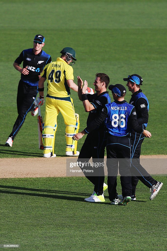 Matt Henry of the Black Caps celebrates the wicket of Steve Smith of Australia during the One Day International match between New Zealand and Australia at Eden Park on February 3, 2016 in Auckland, New Zealand.
