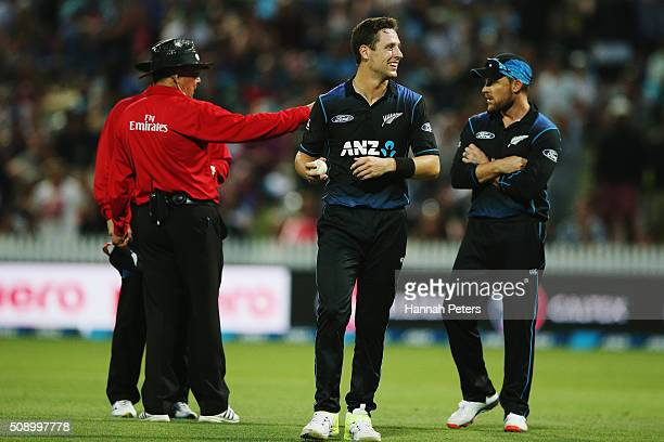 Matt Henry of the Black Caps reacts after the umpires call for a replay on the wicket of Mitchell Marsh of Australia during the 3rd One Day...