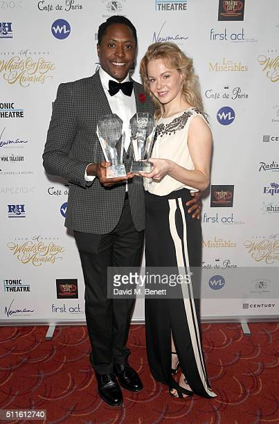 Matt Henry with his Best Actor in a Musical award for Kinky Boots and Amy Lennox with the Best New Musical award for Kinky Boots during the 16th...